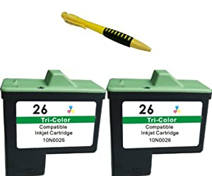 Two Color Compatible Ink Cartridge Lexmark 26 (10N0026) LEX + Pen for Lexmark Printers i3, X1100, X1110, X1130 etc.
