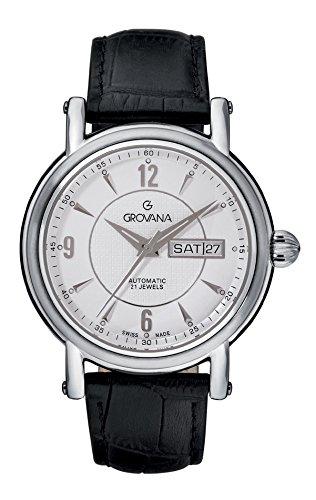 Grovana  1160.2532 - Reloj de automático para hombre, con correa de cuero, color negro