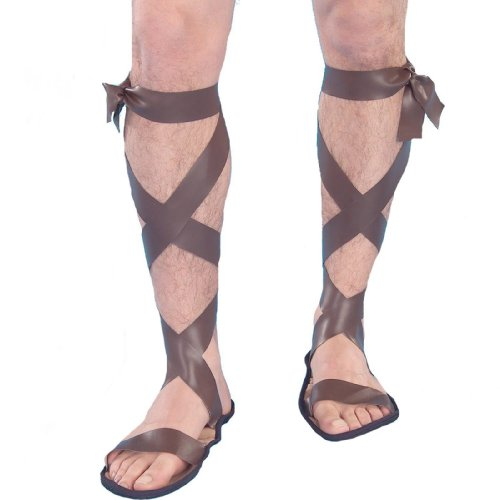 Forum Novelties Men's Novelty Wise Man Roman Sandals, Brown, One Size - 1