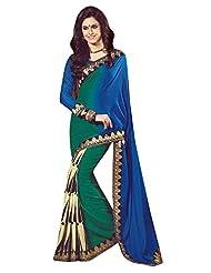 SHABNAM Indian Bhagalpuri Silk BLUEGREEN WITH ETHINIC PRINT Saree for Women