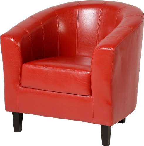 Tempo Tub Chair Rustic Red Faux Leather PU