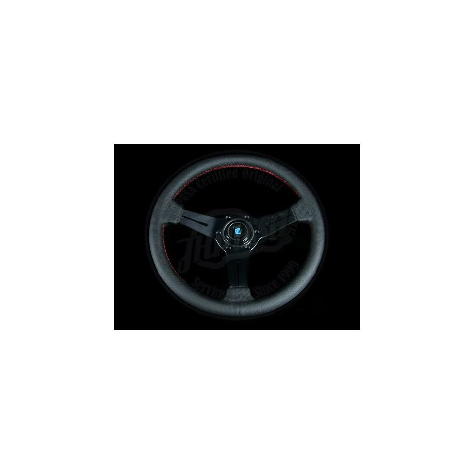 Nardi Classic 360mm Steering Wheel   Black Perforated Leather / Black Spokes / Red Stitch