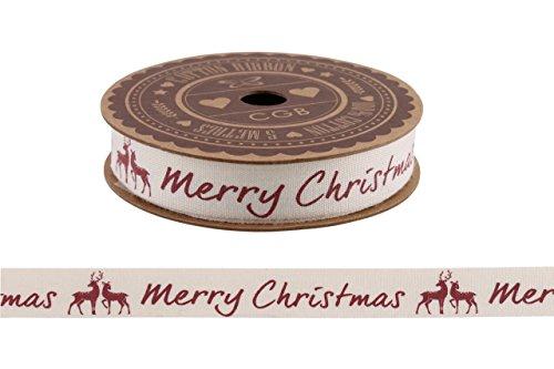 Bobina da 5 m di nastro di cotone, stile Vintage Shabby Chic, con decorazioni, confezione regalo, cream Merry Christmas & Stags 5m