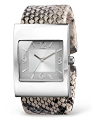 M&S Collection Faux Snakeskin Design Cuffed Watch