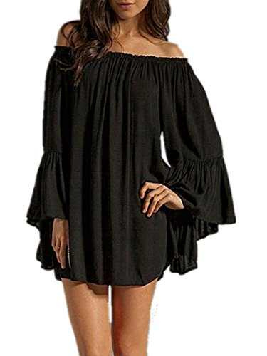 Minetom Donna Mini Abito Off Shoulder Manica Lunga Cocktail Party Club Sciolto Vestito Nero IT 50