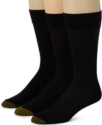 Gold Toe Men's 2198S Crew Fashion Patterned Dress Sock, Black, 10-13
