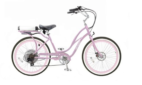Pedego Step-Through Cruiser Pink with Pink Rims Tire/Seat Package: Standard