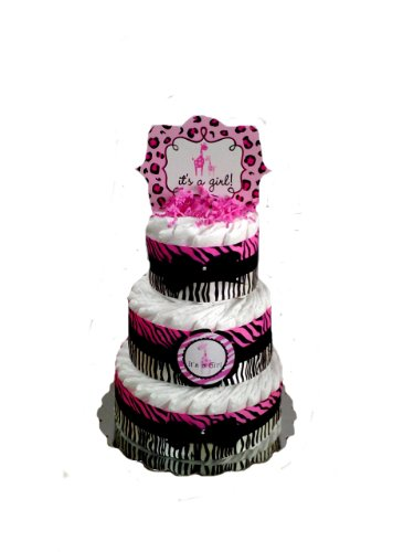 Sweet Safari Baby Shower Diaper Cake (3 Tier, Pink) - 1
