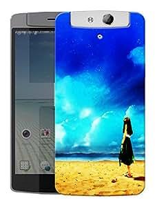 "Humor Gang Girl Beach Water Printed Designer Mobile Back Cover For ""Oppo N1"" (3D, Matte, Premium Quality Snap On Case)"