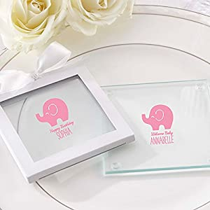 personalized little peanut elephant glass coaster baby shower favors