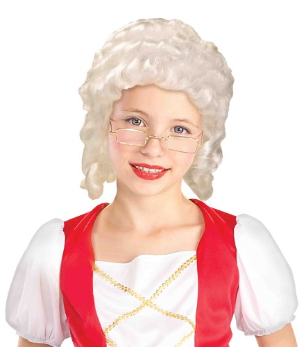 Forum Novelties Colonial Girl Child Wig, White - 1