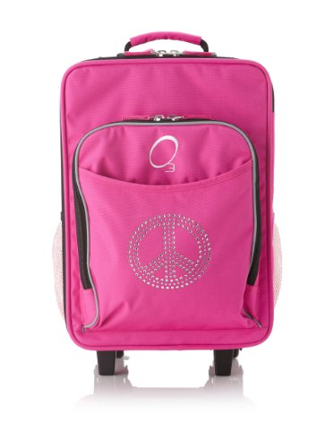 Obersee Kids Rolling Luggage with Integrated Snack Cooler, Rhinestone Peace