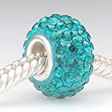 Turquoise Blue - Swarovski Crystal Discoball - Sterling Silver Core Charm Bead - fits Pandora, Chamilia etc style Bracelets - SpangleBead