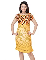 ADS Womens Digital Print Yellow Kurti/Tunic