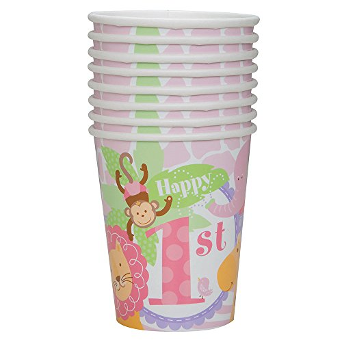9oz Pink Safari First Birthday Party Cups, 8ct