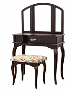 Frenchi furniture queen anne style cherry finish wood for Queen anne style bedroom furniture