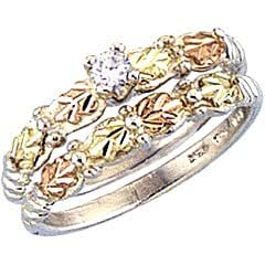 Amazon Gorgeous Black Hills Gold Gold Sterling Silver CZ Engagement Amp Wedding Band Ring
