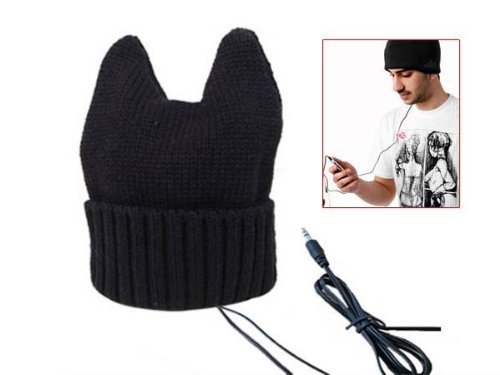 Winter Knitted Ox Horn Beanie Cap Hat With Headphone Earphone 3.5Mm Black