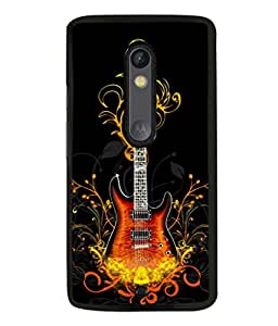 printtech Flaming Abstract Guitar Back Case Cover for Motoroal Moto X Play