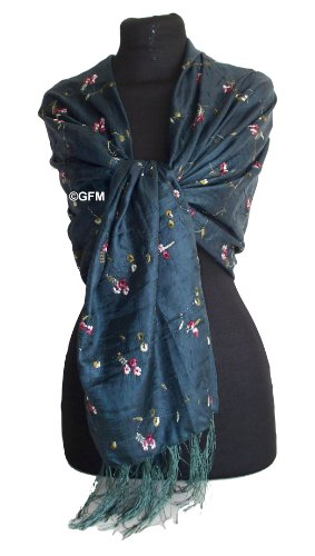 Beautiful Thai Silk-Mix (Very Dark Teal) Embroidered Summer Scarf Sarong or Wrap Stole Shawl Pashmina - (code: THSK)