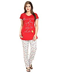 KuuKee Red Cotton Nightsuit Sets (2677_Red_XL)
