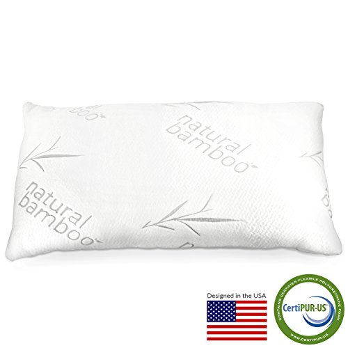 Zen Bamboo® Pillow - Shredded Memory Foam Pillow - Best Hotel Quality Hypoallergenic Memory Foam Pillow w/ Bamboo Removable Cover - King