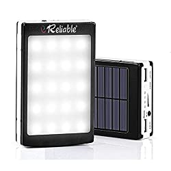 Reliable 15000 mAh 20 LED Solar Power Bank - Black
