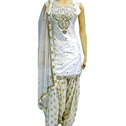 Reet Glamour Women 's Crepe Unstitched White And Golden Heavy Embroidered Punjabi Suit