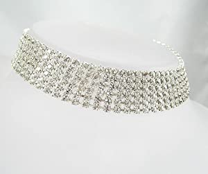 LJ Designs Crystal Six Row Diamante Choker - Silver Finish - Swarovski Crystal