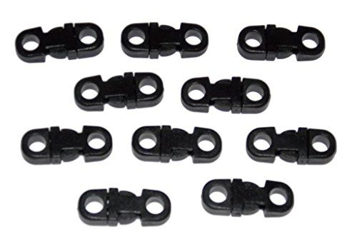 25 Small Black Breakaway Buckles for 550 Paracord and other Rope Crafts - Midwest Cord TM Brand Parachute Cord Accessories - 5mm Hole Tiny Buckles (5mm Accessory Cord compare prices)