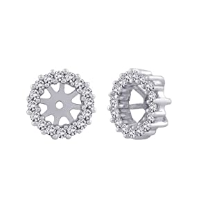 14K White Gold 1/3 ct. Diamond Earring Jackets