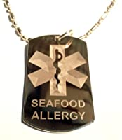 Medical Emergency Seafood Allergy Logo Symbols - Military Dog Tag Luggage Tag Key Chain Keychain Metal Chain Necklace by DOG TAGS