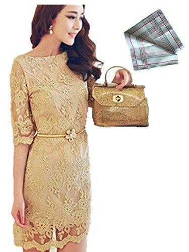 ベージュ XL 花柄 五分袖 レース エレンガント ワンピース ベルト付 & ハンカチ のセット商品 おしゃれ かわいい きれい スリム レディース フォーマル ファッション