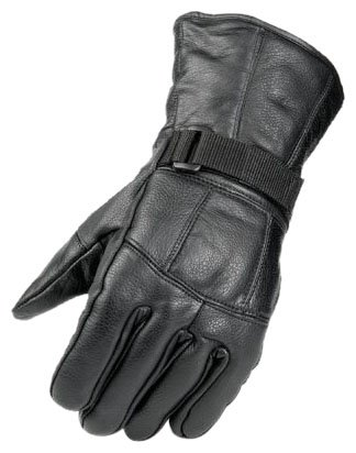 Raider Black Large Leather Motorcycle Riding Gloves