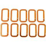 Segolike 10 Pieces Rectangle Orange Aluminum Alloy Carabiner Climbing Backpack Camping Hiking Water Bottle Hooks...