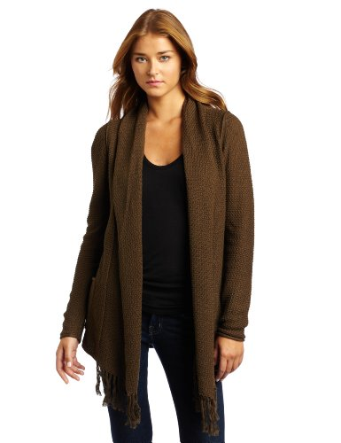 LAmade Women's Fringe Long Sleeve Cardigan, Sierra, X-Small