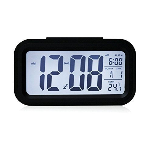 5.3 Smart, Simple and Silent LED Alarm Clock w/ Date Display, Repeating Snooze and Sensor Light + Night Light (Black, White night light) by hitoseller