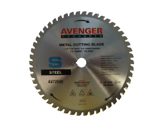 Avenger Av-72550 Steel Cutting Saw Blade, 7-1/4-Inch By 50 Tooth, 5/8-Inch Arbor With Diamond Ko, C-6, Atb front-92745