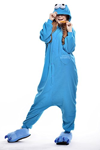 Adult Stylish&comfortable Sesame Street Cookie Monster One Piece Homewear Pajama