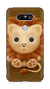 Amez designer printed 3d premium high quality back case cover for LG G5 (cute lion brown animal)