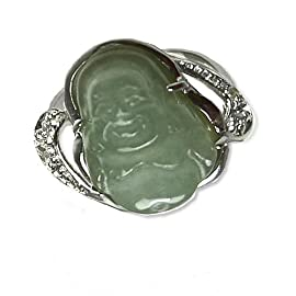 Laughing Buddha Light Green Jade Sterling Silver CZ Ring (Size 7)