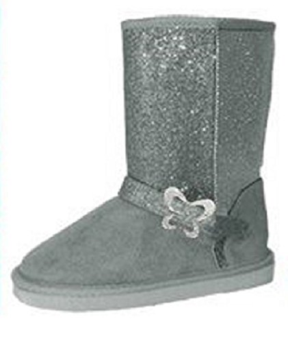Shoes 18 Girls Fashion Micro Suede Winter Boots (10/11, 5015 Grey Butterfly) front-36572
