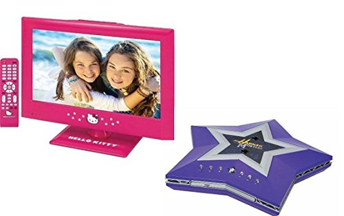 "Hello Kitty Kids Children Tv 15"" 1080P Hd Led Pink Kt2215 + Disney Hannah Montana Dvd Player Hm600D"