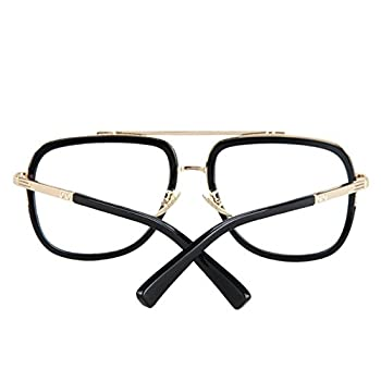 Vintage Men's Oversized Big Square Metal Frame Myopia Optical Eyeglasses