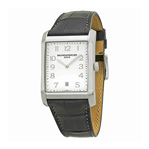 baume-and-mercier-silver-dial-black-leather-mens-watch-10154