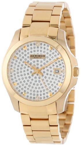 Akribos Xxiv Women'S Ak579Yg Impeccable Crystal Pave Stainless Steel Bracelet Watch