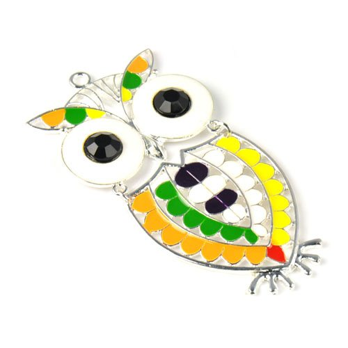 Colorful Silver Plated Enamel Funky Owl Pendant for Necklace,big Size,pt-713