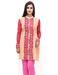 Missprint Beige And Pink Embroided Kurta