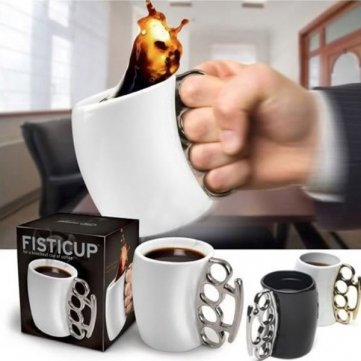 Fisticup Fist Cup Brass Knuckle Duster Handle Coffee Milk Ceramic Fist Mug Cup Cool Gift (Black) (Brass Knuckle Beer compare prices)