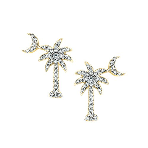 """Diamond """"Palm Tree with Crescent Moon"""" Earrings in 10K Yellow Gold (1/3 cttw) - Katarina"""